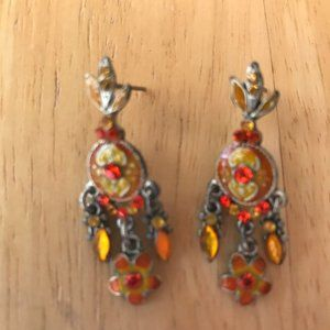 Jewelry - Chandelier Earrings Orange Crystals Floral Retro